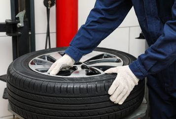 tyre being fitted to wheel
